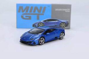 MINI GT 1/64 Lamborghini Huracan EVO Blue Eleos Alloy Model Car Die-cast Vehicle