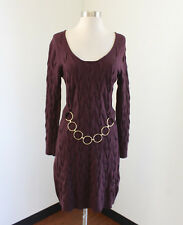 MILLY New York Maroon Merino Wool Cable Knit Belted Sweater Dress M Scoop Neck
