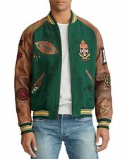 $898 Polo Ralph Lauren Men Crest Wool Leather Graphic Patchwork Varsity Jacket