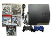 Sony PlayStation PS3 Slim Console Bundle + 2 Controllers + 5 Games -FAST SHIP