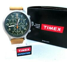 Timex TW4B04400 Expedition Scout Chronograph Green Dial Leather Strap 0600 []