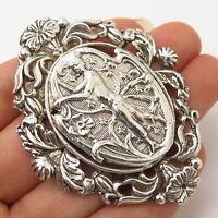 925 Sterling Silver Antique Victorian Floral Design Slide Pendant