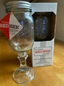"Novelty WIne Glasses; Mason Jar with stem ""Rednek Wine Glass"" Set of 2, NEW"