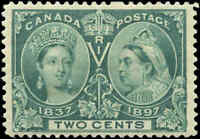 1897 Mint H Canada F-VF Scott #52 2c Diamond Jubilee Issue Stamp