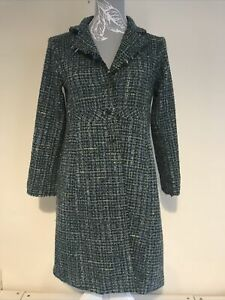 Girls Blue Checked Autumn Wool Coat By Jigsaw Junior Age 10-11 Years