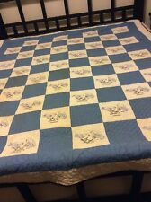 Four Patch Squares Quilt Handmade Embroidered Love Birds Blue White Patchwork