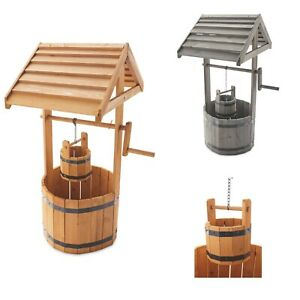 Natural or Grey Wooden Wishing Well Planter with Liners- Free Tracked Delivery