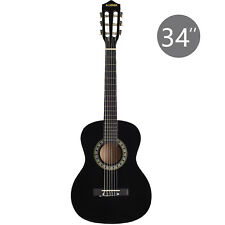 """34"""" Acoustic Guitar with Nylon Strings in Black for Kids Adults Learner"""