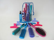 Hair Brush & Comb Set 12 Piece Candy Kit Blow Dry Backcombing Spray Bottle Clips
