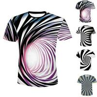 3D Optical illusion T-Shirt Hypnosis Swirl Men Women Funny Short Sleeve Tops