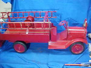 "1930s KEYSTONE Pressed Steel FIRE TRUCK w LADDERS 27"" Repainted"
