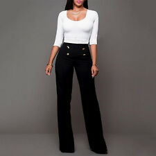 Women's Palazzo Pants Wide Leg Flared Trousers Ladies Career Long Pant Plus Size
