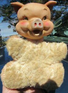 "VINTAGE RARE RUBBER FACE HEAD PINK PIG PIGGY BEAR PLUSH TOY 8"" DOLL RUSHTON GUND"