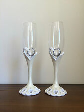 Wedding Day/Engagement Champagne Glasses Set/Gift 2 Rings
