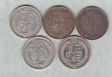 More details for five 1887 victoria jubilee head silver shillings in very fine condition