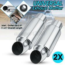 2pcs 2.5'' Inlet Outlet Car Exhaust Pipe Muffler Sound Tuning Silencer Polished