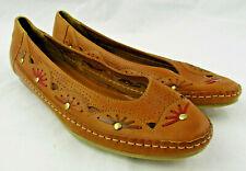 Linea Gitano Flats Womens Sz 9 Brown Brazil Leather Floral