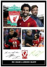 172.  mo salah & jurgen klopp liverpool signed a4 photograph great gift