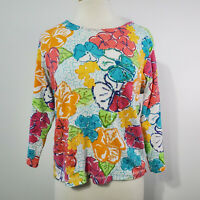 Anthony's Resort Wear Women's Blouse Top 3/4 Sleeve Floral Sequins Sz XL Stretch