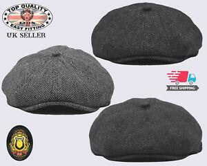 Baker Boy Hat Newsboy Cap 100% Wool Peaky Blinders Mens  Flat Cap Herringbone UK