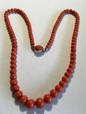 antique old stock natural  coral necklace 14K gold clasp see my other lists