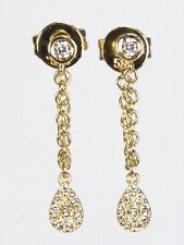 Dangling Chain Earring with Diamond in 14k Yellow, Rose or White Gold ( D 0.12)
