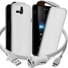 Housse Coque Etui pour Sony Xperia U + chargeur auto Couleur Blanc