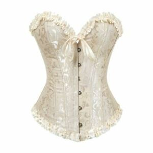 Corset Overbust Lace Plus Size Zip Floral Bustier Tops Brocade Victorian fashion