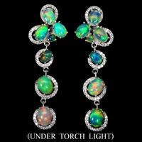 Unheated Oval Fire Opal Rainbow Full Flash 8x6mm Cz 925 Sterling Silver Earrings