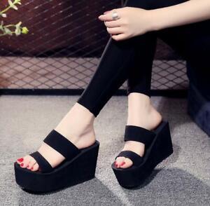 Womens Wedge High Heels Platform Slippers Open Toe Slip On Sandals Summer Shoes