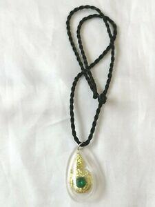 Pendant Naga Peg Bead Green Fetish Free Rope necklace Thai Amulet Rich Success