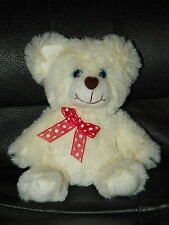 """White JUST FOR YOU Valentine's TEDDY BEAR 7"""" Stuffed Animal PLUSH Love VERY SOFT"""