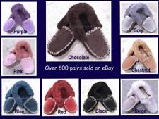 100% Sheepskin Moccasin Slippers Unisex Warm Winter Comfy Soft Outdoor Indoor