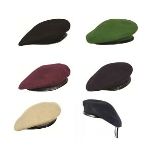 New British Army Type Wool Mens Ladies Beret Hat Cap Lined Leather Band