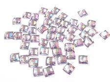50 8mm AB transparent carré à coudre, couture, à coller sur Strass cristal
