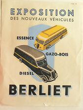 Prospectus  camion & car  BERLIET  1938     bus  catalogue   brochure
