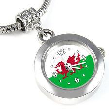 Wales Flag Silver European Spacer Charm Bead Quartz Watch For Bracelet EBA414