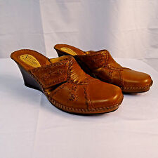 Clarks Artisan Women's Size 8 M Brown Leather Mule Slide Heel 74533 Wedge Shoes