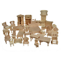 34PCS Wooden Doll House Dollhouse Furnitures Miniature Models DIY Accessories fw