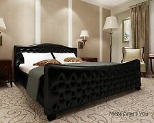Luxury Art Leather Super King Size Bed Chesterfield Upholstery Slatted Base NEW