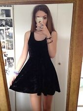 TopShop - UK Size 8 Black VELVET Skater Dress mini short XS Small fit and flare