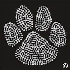 Paw Animal Dog Cat Rhinestone Diamante Transfer Iron On Hotfix Gem Motif Patch