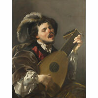 Brugghen Man Playing Lute France Painting XL Canvas Art Print