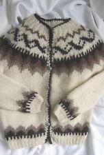 Hilda Ltd. Women's Cardigan Sweater Iceland Knit Nordic 100% Wool Natural Color