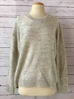 MAGASCHONI Womens Size L Crewneck Long Sleeve Knit Pullover Sweater Gray Marl