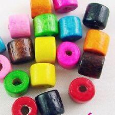 LOT de 200 PERLES tubes BOIS multicolores 7 x 6mm création bijoux