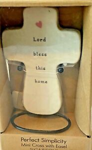 """Perfect Simplicity Mini Cross with Easel by Carson """"Lord bless this home"""" NEW!"""