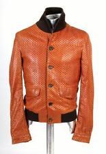 Dolce & Gabbana láser de corte de Chaqueta de cuero marrón EU44 XS/Pequeño Rrp £ 1500