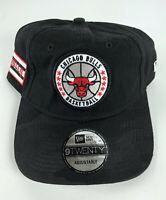 Chicago Bulls Baseball Adjustable Hat New Era 9Twenty Black w/Circle Logo
