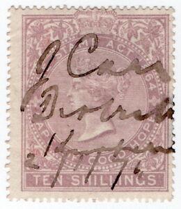 (I.B) Cape of Good Hope Revenue : Stamp Duty 10/- (1885)